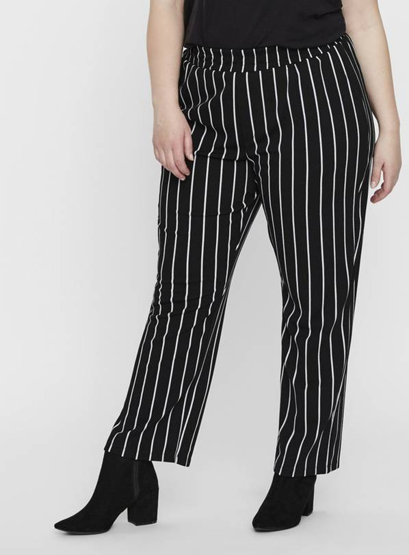 Black Pinstripe Wide Leg Trouser - L