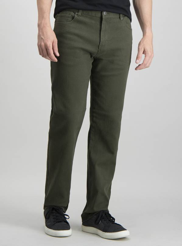 Khaki Twill Straight Leg With Stretch Jeans - W38 L32