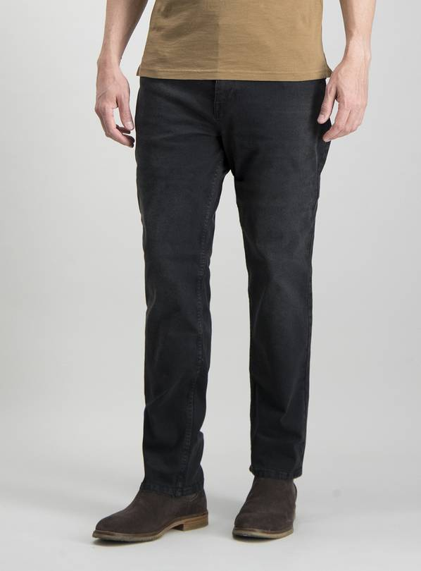 Charcoal Grey Denim Straight Fit Jeans With Stretch - W42 L3
