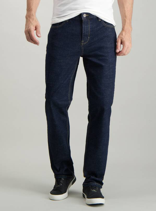 Dark Blue Denim Tapered Fit Jeans With Stretch - W30 L34