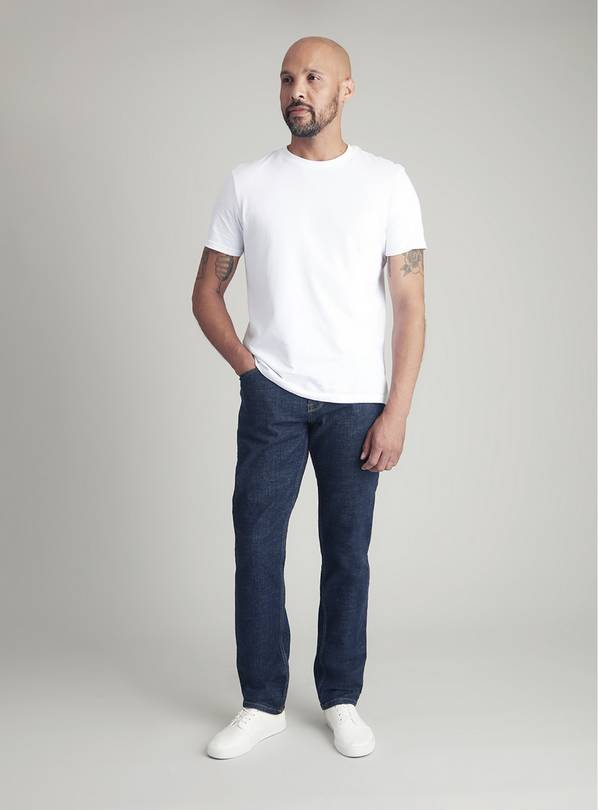 Dark Blue Denim Tapered Fit Jeans With Stretch - W40 L30