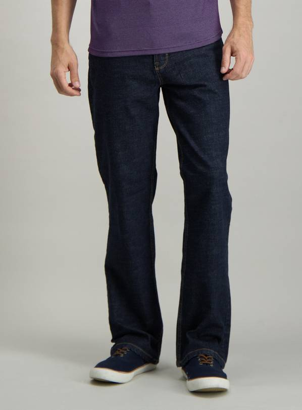 Dark Rinse Wash Denim Bootcut Jeans - W44 L32