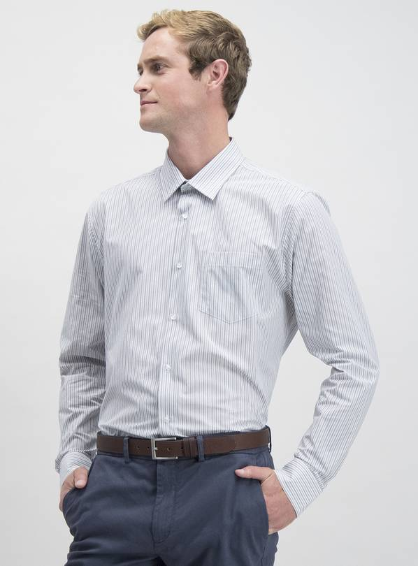 Grey Stripe & Plain Easy Iron Regular Fit Shirt 2 Pack - 14.