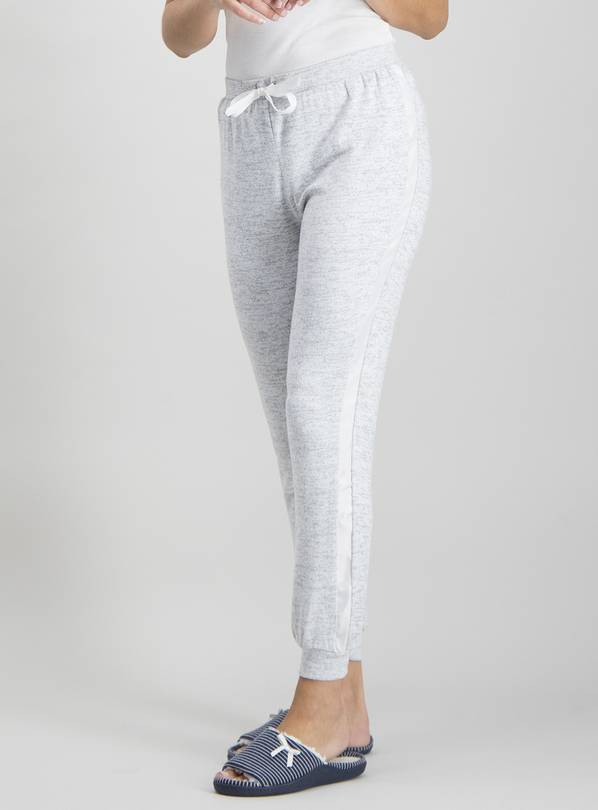 Grey Marl Satin Trim Pyjama Bottom - 12