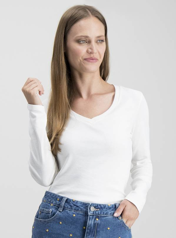 Cream V-Neck Pure Cotton Long Sleeve T-Shirt - 14