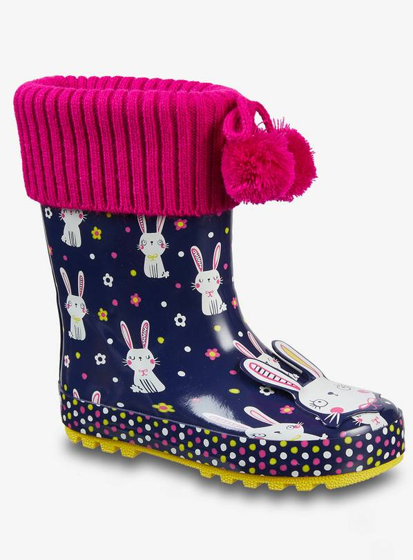 Navy Blue Rabbit Wellies - 9 Infant