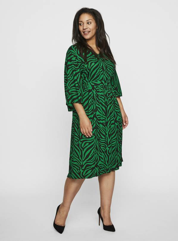 JUNAROSE Green Animal Print Dress - 16