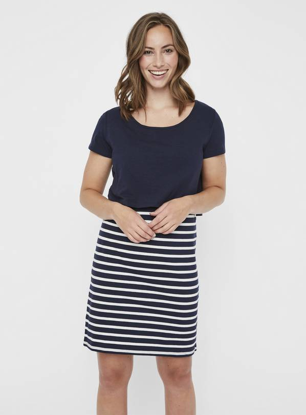 Maternity Nursing Navy Stripe Dress - S