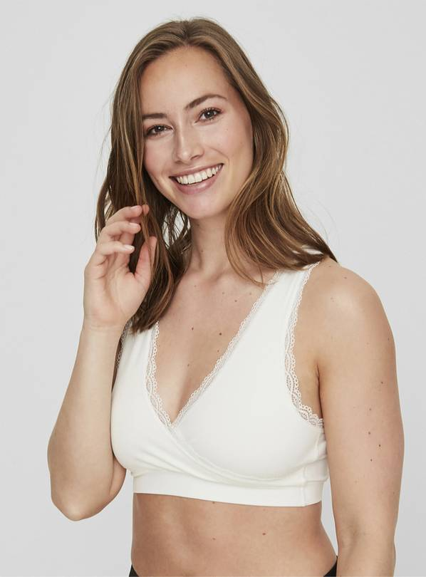 Maternity White Lace Trim Nursing Bra - S/M