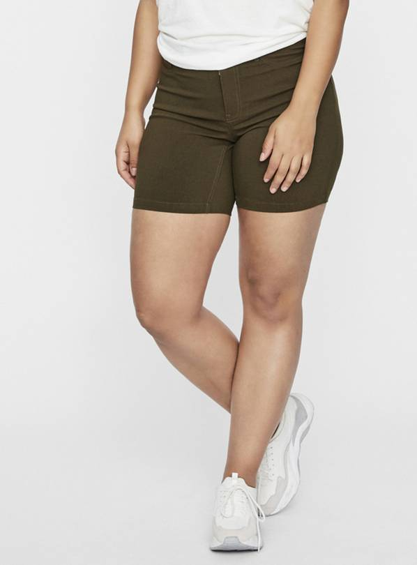 Khaki Denim Look Shorts - 22