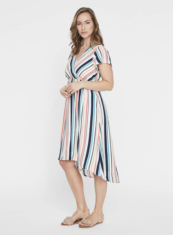 Maternity Multicoloured Stripe Midi Dress - L