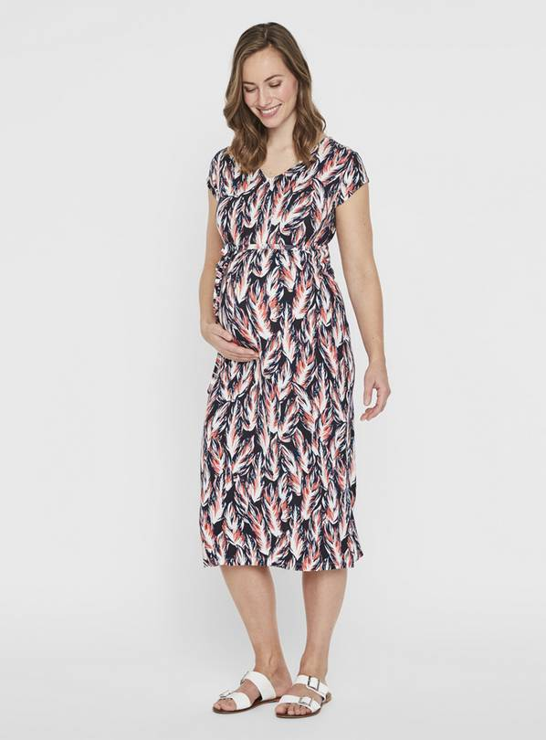 Maternity Black Feather Print Midi Dress - XL