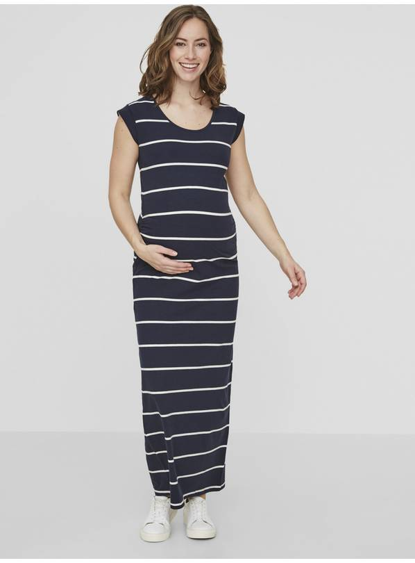 Maternity Navy Stripe Jersey Maxi Dress - XL
