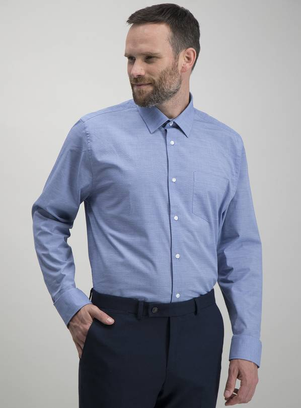 Navy & Blue Long Sleeve Easy Iron Regular Fit Shirts 2 Pack