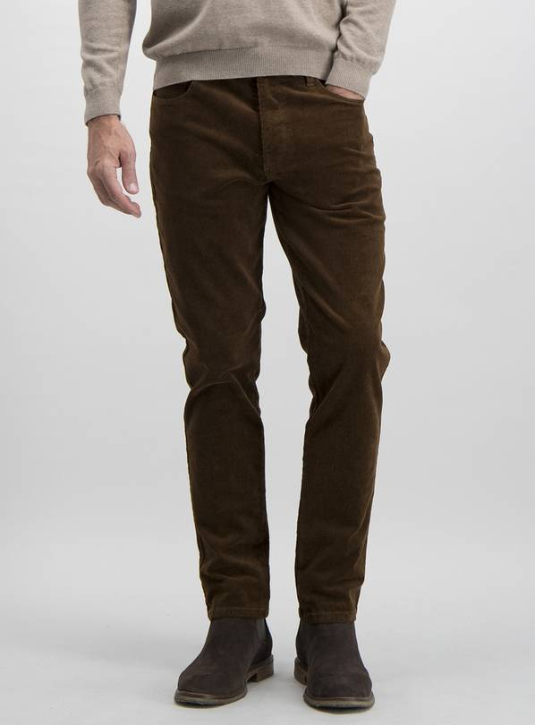 Tobacco Brown Slim Fit Corduroy Trousers With Stretch - W34