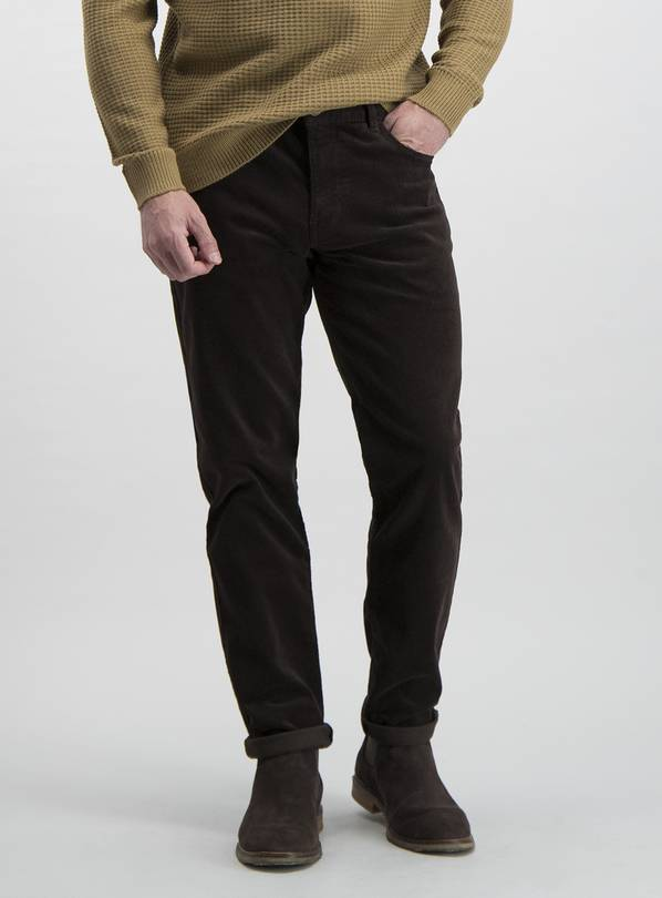 Brown Slim Fit 5 Pocket Corduroy Trousers With Stretch - W36