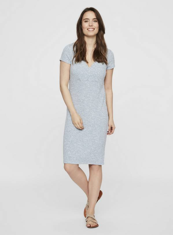 Maternity Nursing Blue Rib Jersey Dress - S