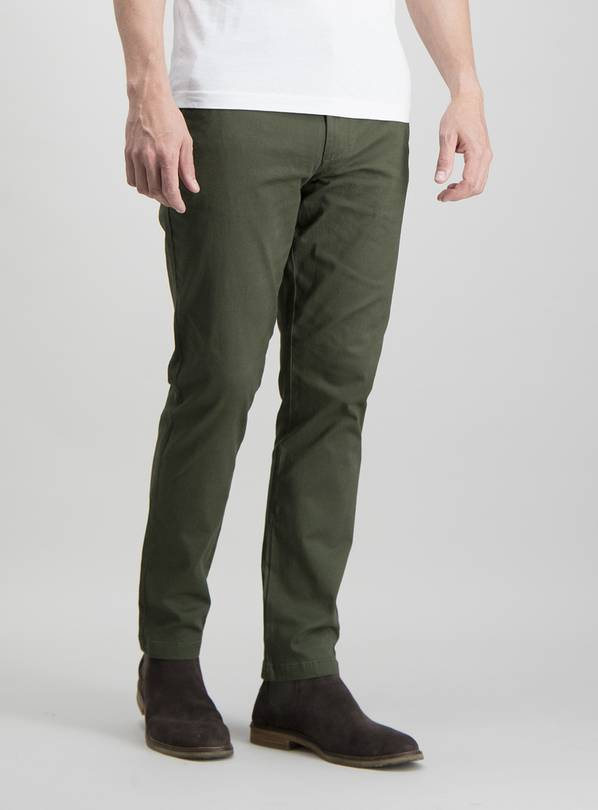 Online Exclusive Dark Khaki Slim Fit Chinos With Stretch - W