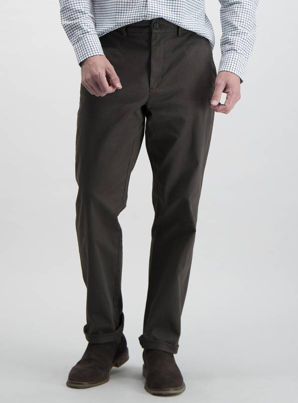 Brown Straight Fit Chinos With Stretch - W36 L30