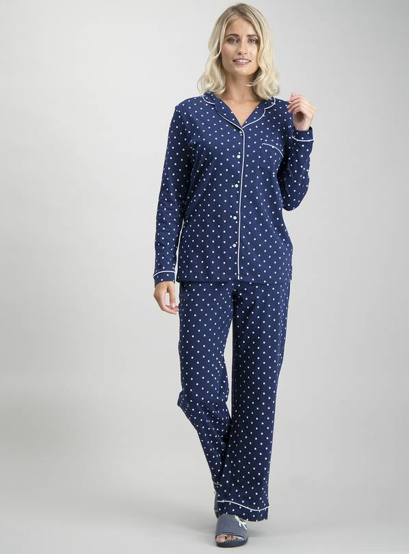 Navy Polka Dot Traditional Pyjamas - 24