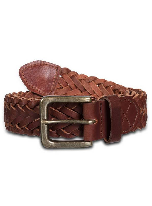 Brown Plaited Leather Belt - M