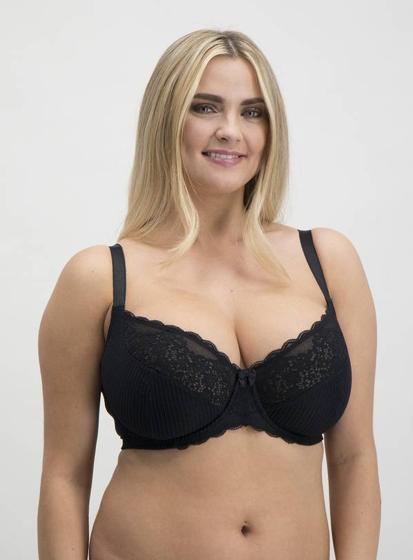 DD+ Black & White Jacquard Stripe Full Cup Bra 2 Pack - 36E