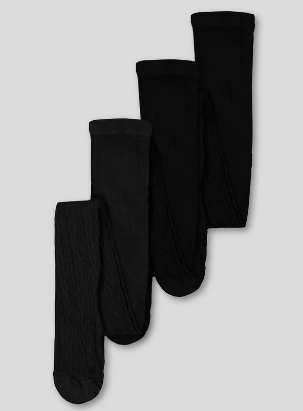 Black Cable Super Soft Tights 3 Pack - 9-10 years