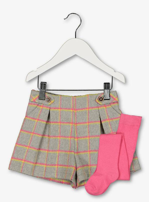 Grey & Pink Grid Shorts & Tights Set - 2-3 years