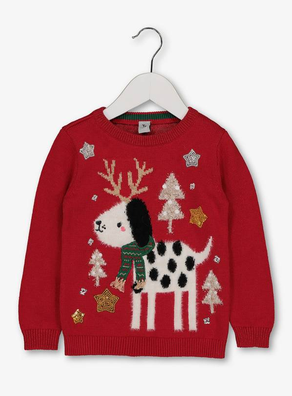 Christmas Red.Buy Christmas Red Dog Knitted Jumper 1 5 2 Years Jumpers And Cardigans Argos