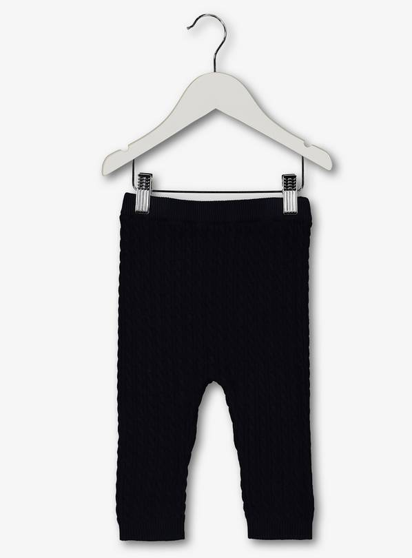 Navy Blue Cable Knitted Leggings - 12-18 months