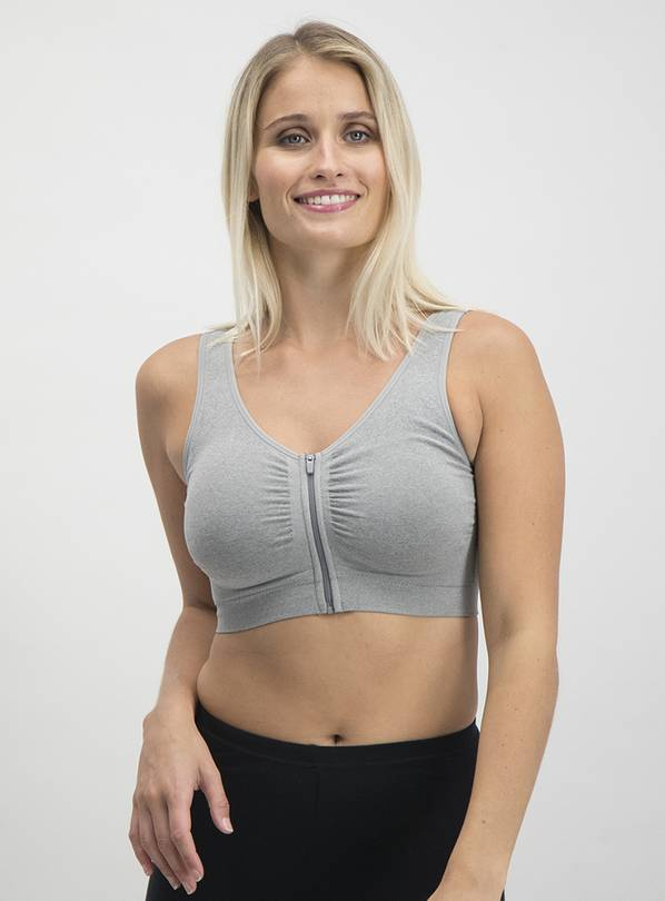 Grey Zip Seamless Stretch Crop Top - XS