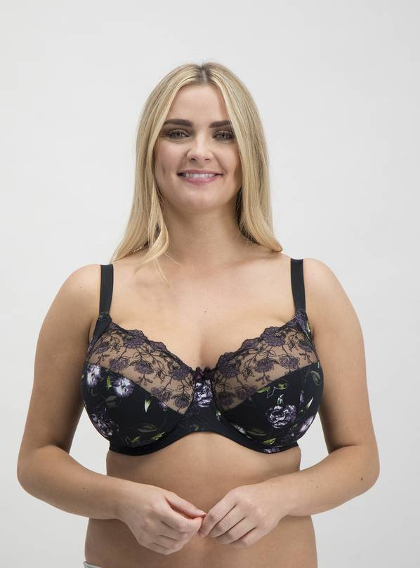 DD+ Black Floral Print & Embroidered Full Cup Bra - 34GG