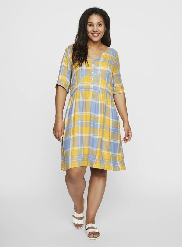 V-Neck Check Dress - 18