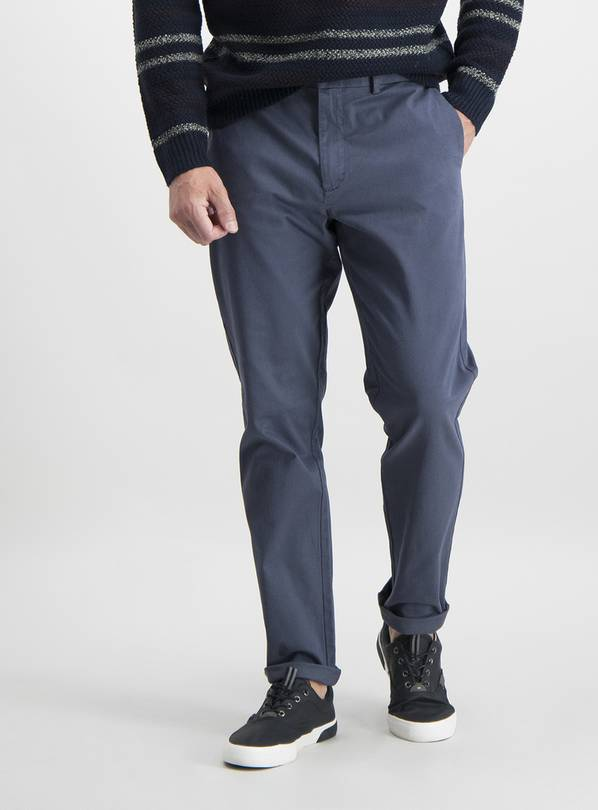 Washed Blue Slim Fit Chinos - W38 L32