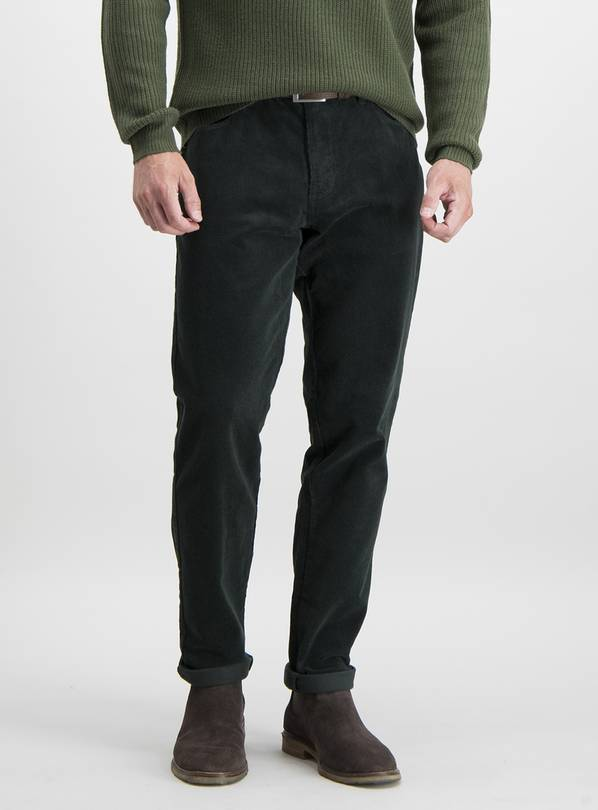 Green Slim Fit 5 Pocket Corduroy Trousers With Stretch - W32