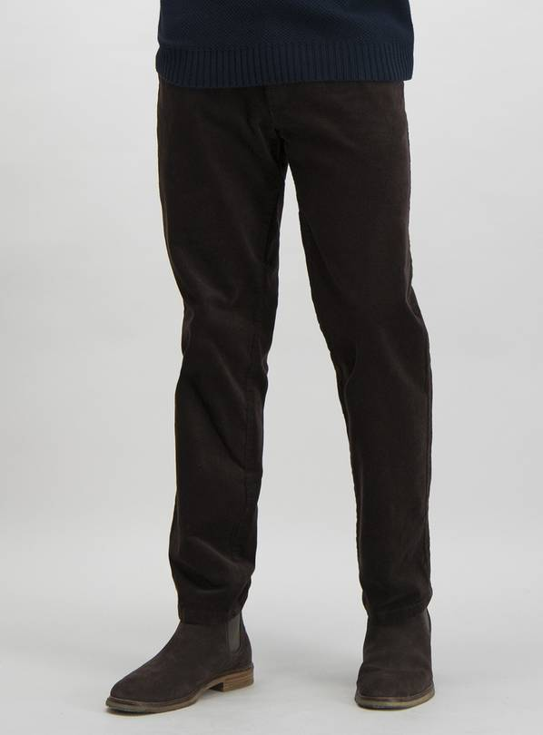 Brown Straight Fit Corduroy Trousers With Added Stretch - W3