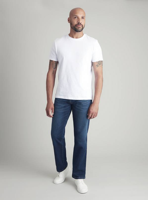 Mid Wash Denim Straight Fit Ultimate Comfort Jeans - W40 L32