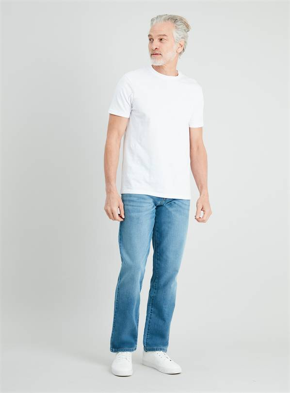 Light Wash Denim Straight Fit Ultimate Comfort Jeans - W34 L