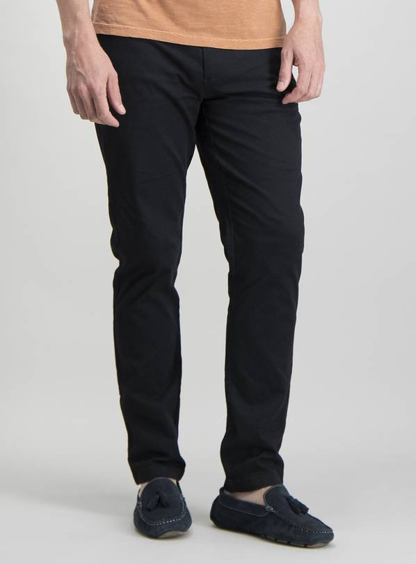 Black Skinny Fit Chino With Stretch - W36 L34
