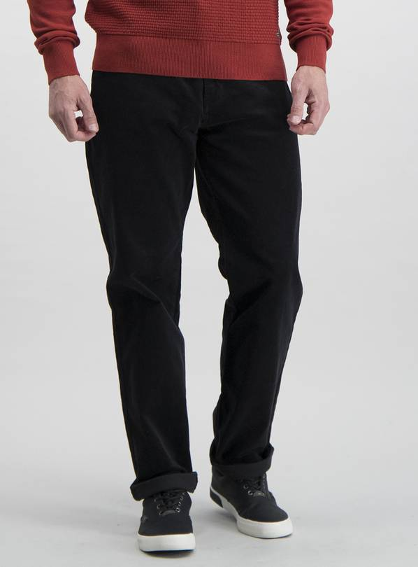 Charcoal Grey Straight Fit Corduroy Trousers With Stretch -