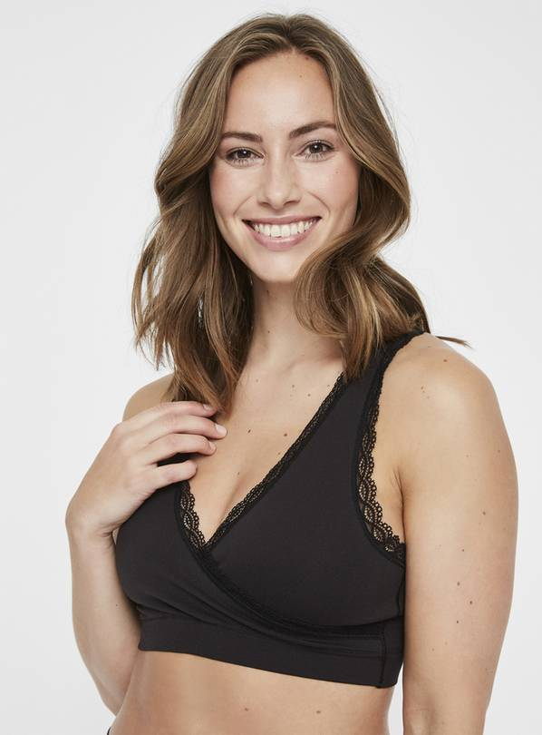 Maternity Black Lace Trim Nursing Bra - M/L