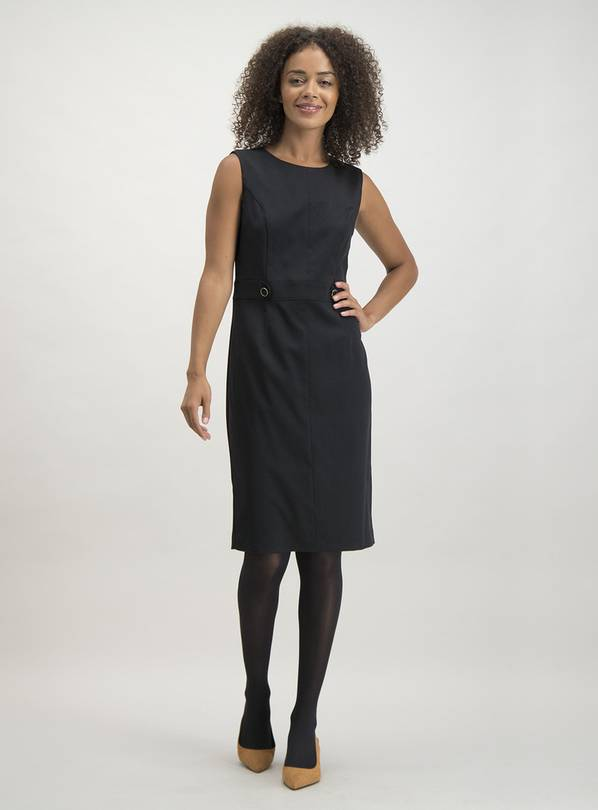 Black Button Detail Shift Dress - 16
