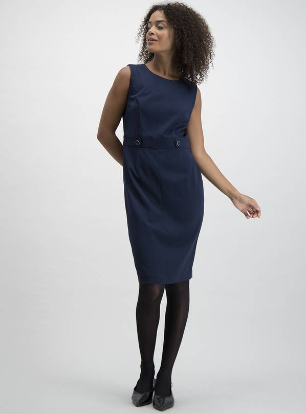 Navy Button Detail Shift Dress - 8