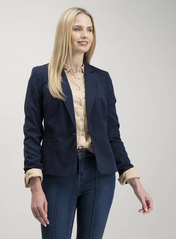 Navy One Button Blazer - 8