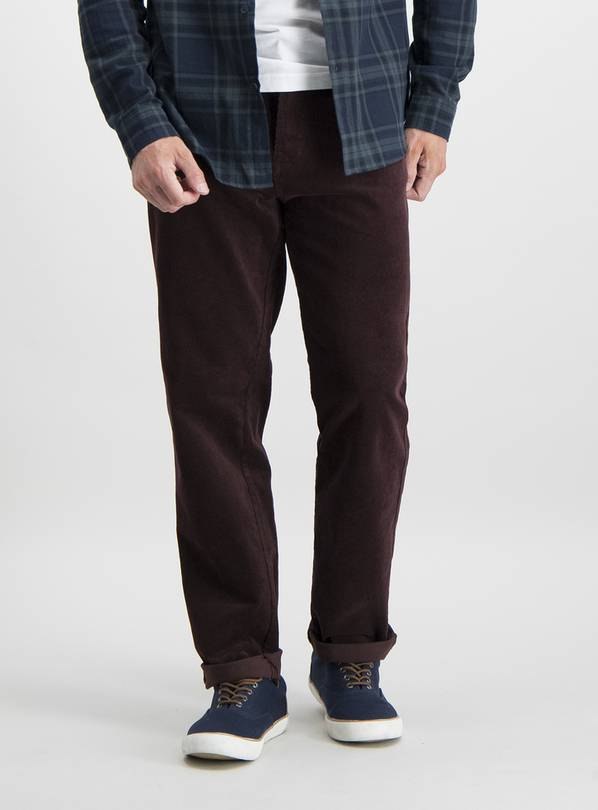 Dark Red Straight Fit Corduroy Trousers With Stretch - W40 L