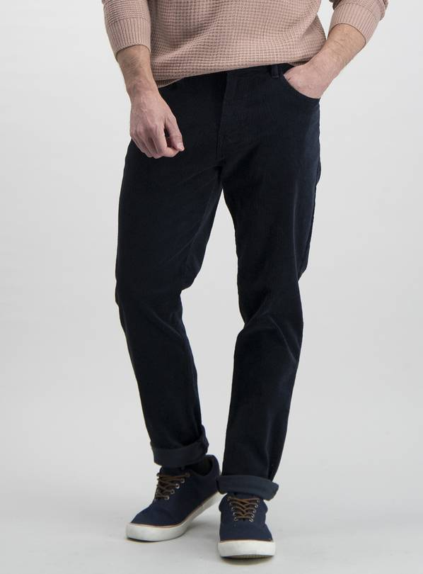 Blue Slim Fit 5 Pocket Jumbo Corduroy Trouser With Stretch -