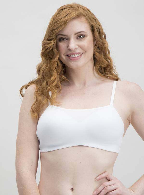 White Cotton Blend Scoop Neck Bra - 36C