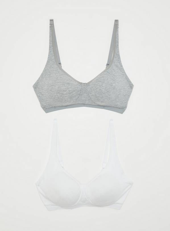 Grey & White Non-Wired Comfort Lounge Bra 2 Pack - 34DD