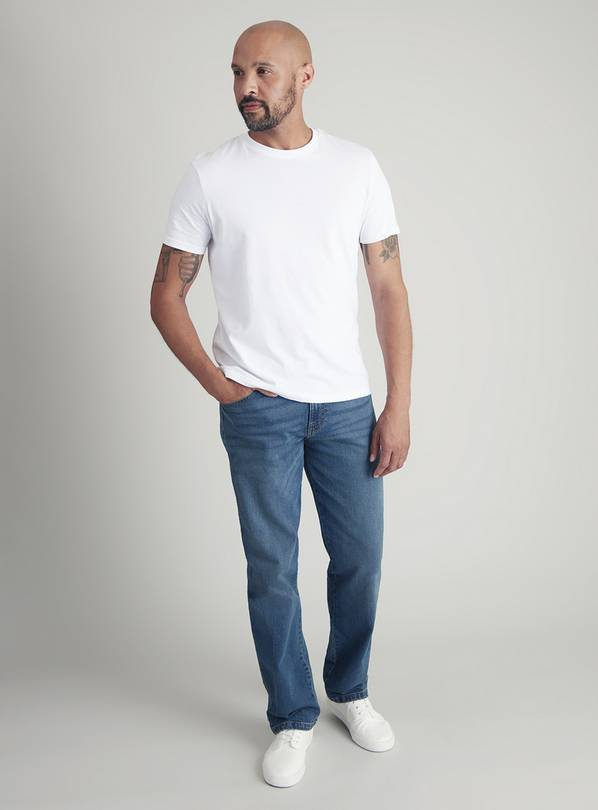 Blue Light Wash Straight Leg Denim Jeans With Stretch - W32