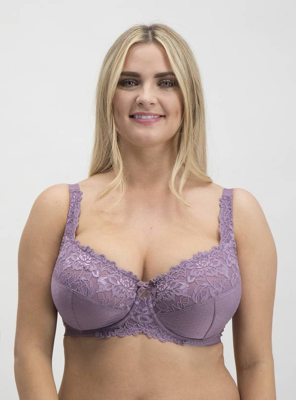 DD+ Light Purple Comfort Lace Full Cup Bra - 40DD